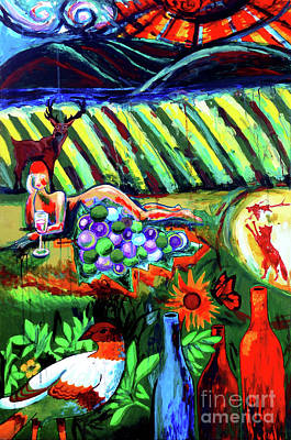 Wine-bottle Painting - Lady And The Grapes by Genevieve Esson
