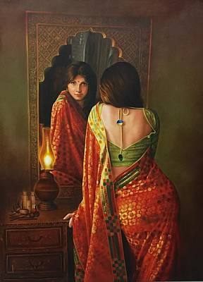Knockout Painting - Lady And The Mirror by Kamal  Rao