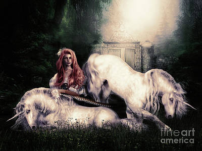 Unicorn Digital Art - Lady And The Unicorns by Shanina Conway
