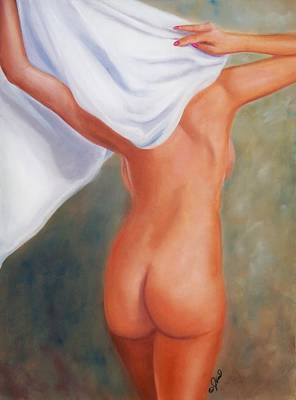 Painting - Lady And White Sheet by Joni McPherson