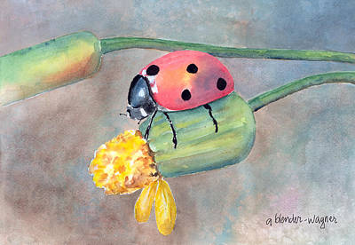 Watercolor Painting - Lady Bug - Lady Bug... by Arline Wagner