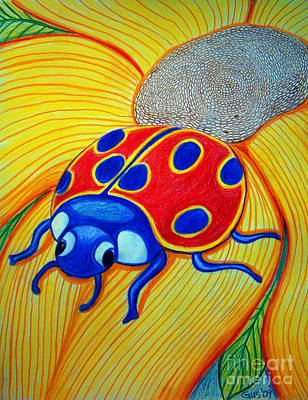 Sunflowers Drawing - Lady Bug by Nick Gustafson