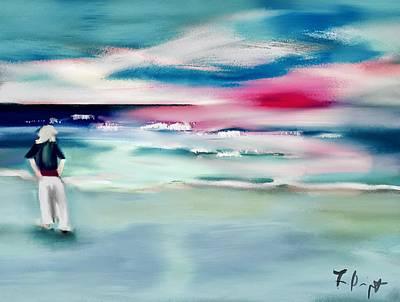 Digital Art - Lady By The Sea by Frank Bright