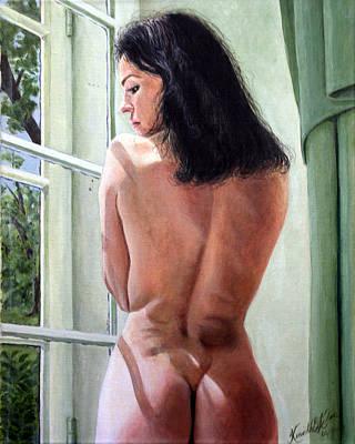 Lady By Window Art Print by Kenneth Kelsoe