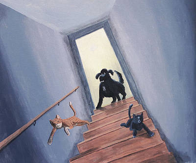 Lady Chases The Cats Down The Stairs Art Print