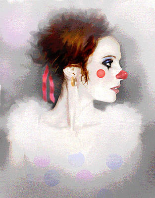 Girl Profile Digital Art - Lady Clown by Robert Foster