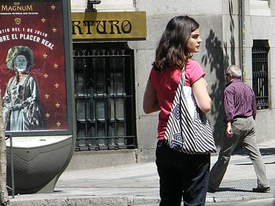 Lady Crossing Sagasta Street - Madrid Art Print by Thomas Bussmann