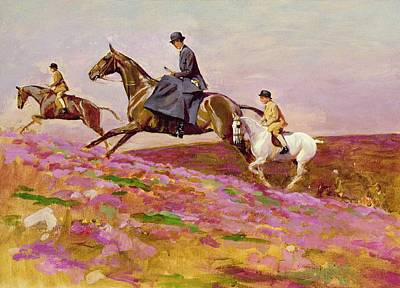 Lady Currie With Her Sons Bill And Hamish Hunting On Exmoor  Print by Cecil Charles Windsor Aldin