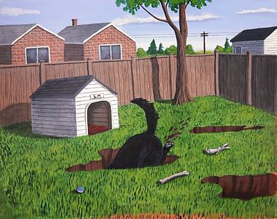 Painting - Lady Digs In The Backyard by Dave Rheaume