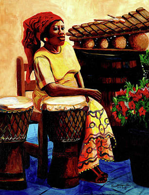 Painting - Lady Drummer by Everett Spruill