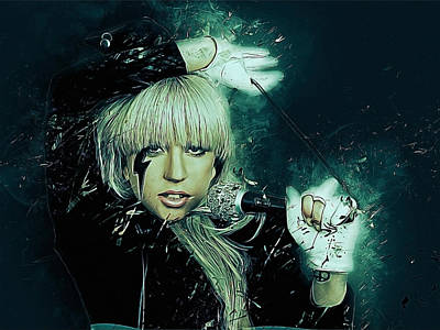 Face Digital Art - Lady Gaga by Afterdarkness