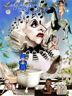 Digital Art - Lady Gaga And Kids by Larisa Isaeva