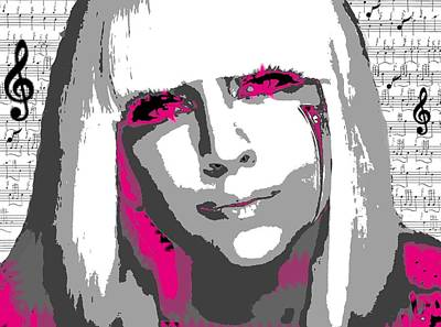 Gaga Digital Art - Lady Gaga by Brad Scott