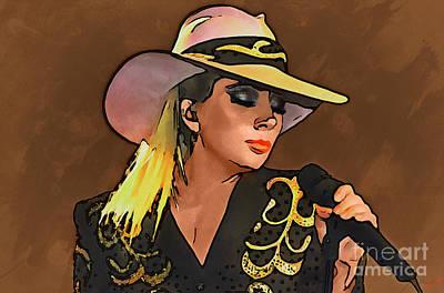 Drawing - Lady Gaga Collection - 1 by Sergey Lukashin