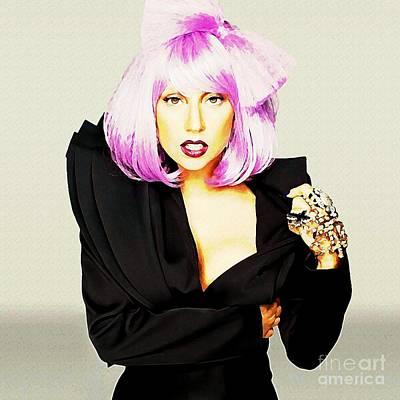 Grammy Winners Painting - Lady Gaga Fashion Watercolor by John Malone