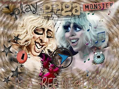 Digital Art - Lady Gaga Monster by Larisa Isaeva