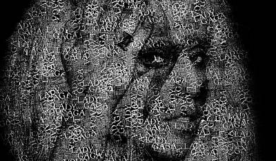 Lady Gaga Art Photograph - Lady Gaga Text Portrait - Typographic Face Poster With All The Album Titles And Songs By Lady Gaga by Jose Elias - Sofia Pereira
