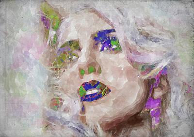 Photograph - Lady Gaga Watercolor by Ricky Barnard