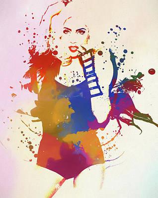 Painting - Lady Gaga Watercolor Splatter by Dan Sproul