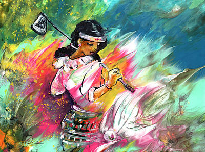 Sports Paintings - Lady Golf 02 by Miki De Goodaboom