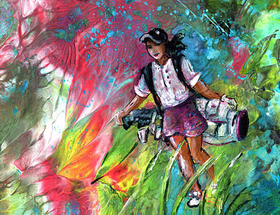 Sports Paintings - Lady Golf 04 by Miki De Goodaboom