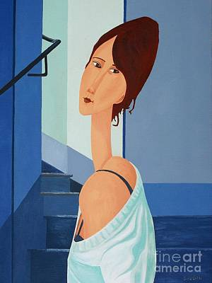 Lady In A Blue Top Original by Stephen Diggin