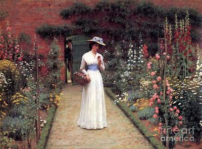 People Painting - Lady In A Garden  by Celestial Images