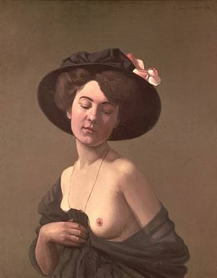 Naked Lady Painting - Lady In A Hat by Felix Edouard Vallotton