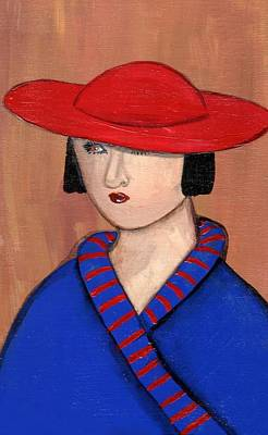 Painting - Lady In A Red Hat And Blue Coat by JoLynn Potocki
