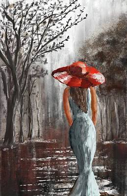 Red Hat Society Digital Art - Lady In A Red Hat by Eduardo Tavares