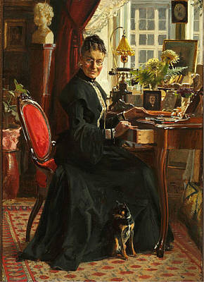 Woman In Black Dress Painting - Lady In Black by Frants Henningsen