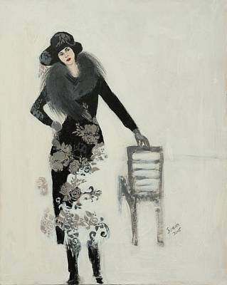 Person Drawing - Lady In Black With Flowers by Susan Adams