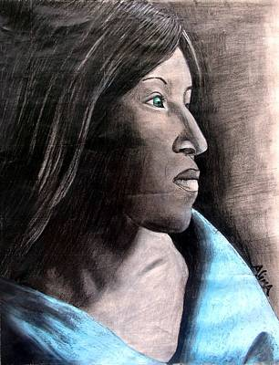 Mixed Media - Lady In Blue by Alima Newton
