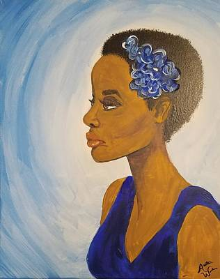 Natural Hair Painting - Lady In Blue by Autumn Leaves Art