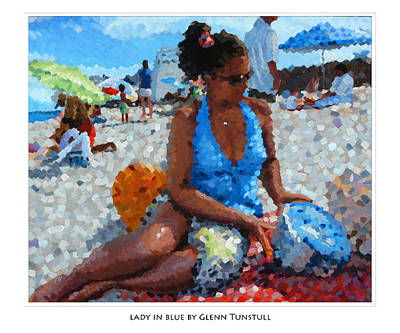 Painting - Lady In Blue Poster by Glenn Tunstull
