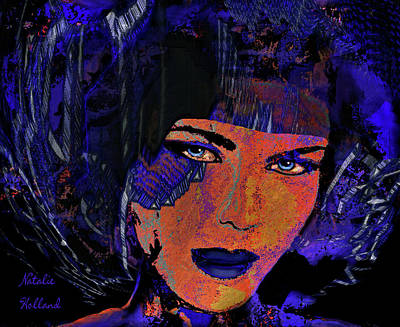 Mixed Media - Lady In Blue by Natalie Holland