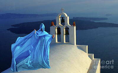 Photograph - Lady In Blue Santorini Greece by Bob Christopher