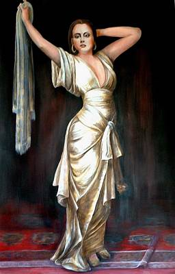Lady In Gold Gown Art Print