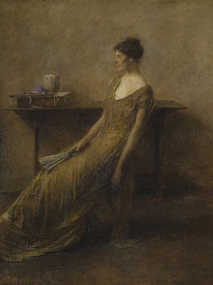 Fan Art Painting - Lady In Gold by Thomas Wilmer Dewing