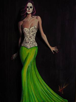 Dotd Painting - Lady In Green by Aaron  Montoya