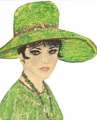 Drawing - Lady In Green by Sonya Chalmers