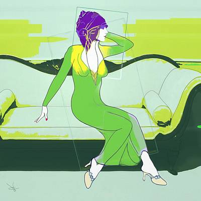Digital Art - Lady In Green by Victor Shelley