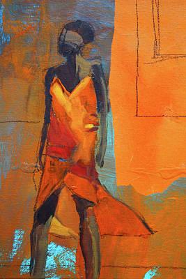 Art Print featuring the painting Lady In Orange by Nancy Merkle