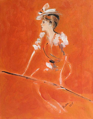 Person Drawing - Lady In Orange by Susan Adams