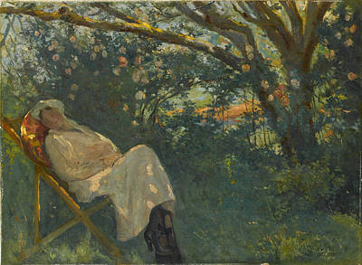 Chaise Longue Painting - Lady In Pink On A Chaise by Eastern Accent