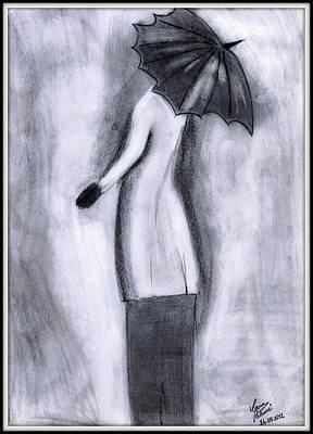 Lady In Rain Art Print by Gaurav Patwari