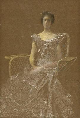 Lady In Rattan Armchair Art Print by Thomas Wilmer Dewing