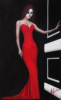 Dotd Painting - Lady In Red by Aaron  Montoya