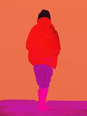 Digital Art - Lady In Red by Bill Tomsa