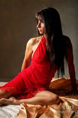 Laying Digital Art - Lady In Red by Naman Imagery